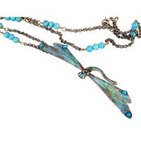 Handmade Verdigris Patina Solid Brass Decorative Dragonfly Long Necklace with Turquoise by Elaine Co (United States)