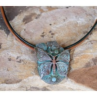 Patina Brass Butterfly on Mulberry Leaves Pendant