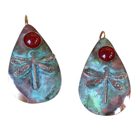 Handmade Verdigris Patina Teardrop Earrings - Carnelian (USA) - Red