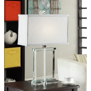 Crystal Rectangular Table Lamp with Grey Shade (As Is Item)