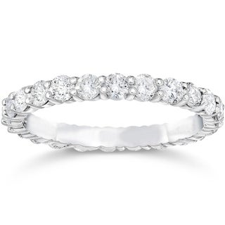 Bliss 14k White Gold 1 1/2 ct TDW Diamond Womens Eternity Anniversary Stackable Wedding Ring