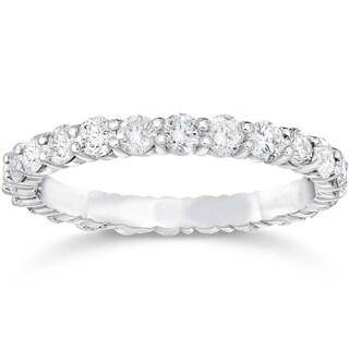 Bliss 14k White Gold 1 1/2 ct TDW Diamond Womens Eternity Anniversary Stackable Wedding Ring