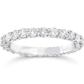 Bliss 14k White Gold 1 2 Ct TDW Diamond Womens Eternity Anniversary Stackable Wedding