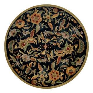Hand-tufted Paradise Black/ Multi Wool Rug (8' Round)