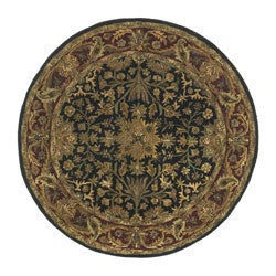 Hand-tufted Regal Black/ Burgundy Wool Rug (8' Round)