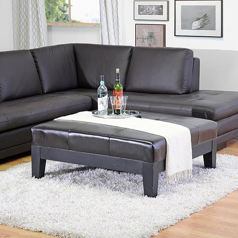 Baxton Studio Narcy Dark Brown Large Bonded Leather Square Cocktail Ottoman