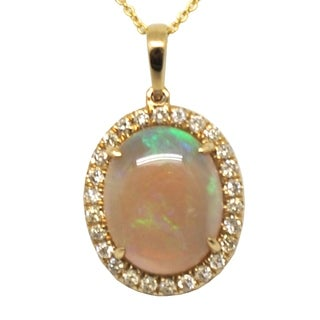 Kabella 14 kt Yellow Gold 2 1/3 cts Opal Birthstone with Diamonds Around Necklace - White