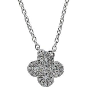 Kabella 18k White Gold 1/3 ctw Diamonds Flower Solitaire Necklace