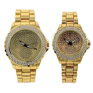 Techno Pave's Gold Iced Out Matching His & Her Metal Band Bling Gift Set