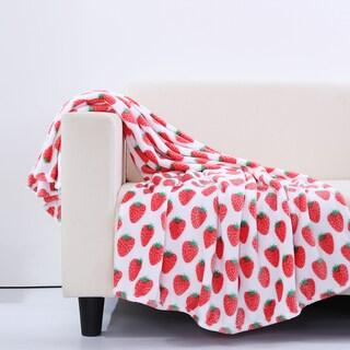 Berkshire Blanket Velvety Plush Strawberry Throw Blanket
