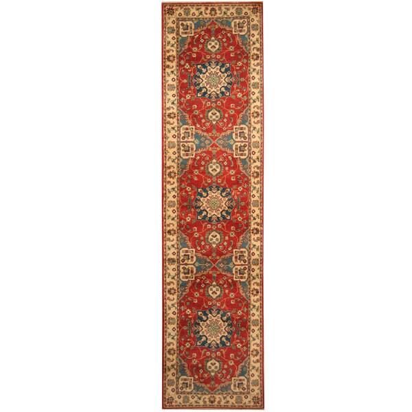 Handmade Herat Oriental Afghan Hand-knotted Tribal Kazak Wool Runner (2'7 x 10'7)