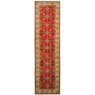 Handmade Herat Oriental Afghan Hand-knotted Tribal Kazak Wool Runner (2'7 x 10')
