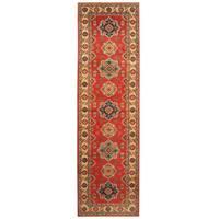 Handmade Herat Oriental Afghan Hand-knotted Tribal Kazak Wool Runner - 2'10 x 9'10