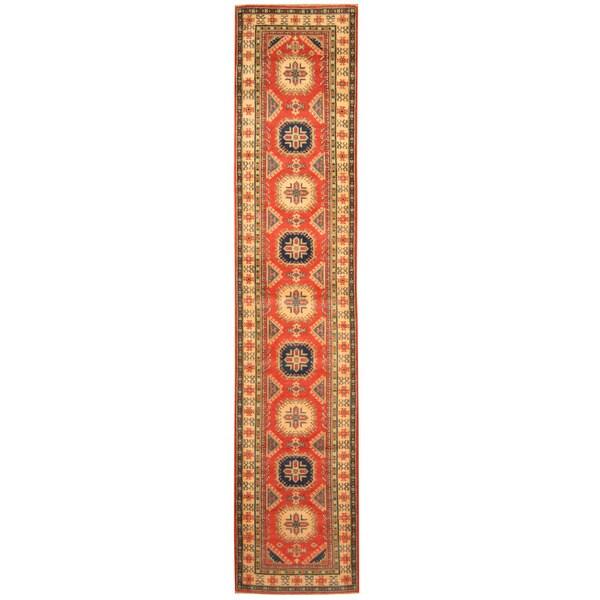 Handmade Herat Oriental Afghan Hand-knotted Tribal Kazak Wool Runner (2'8 x 13') - 2'8 x 13'