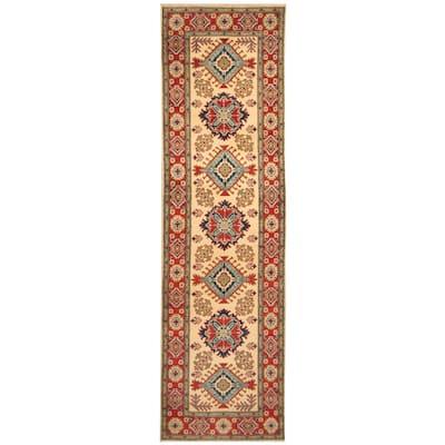 Handmade One-of-a-Kind Kazak Wool Runner (Afghanistan) - 2'8 x 9'10