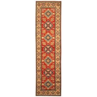 Handmade Herat Oriental Afghan Hand-knotted Tribal Kazak Wool Runner (2'8 x 10'2)
