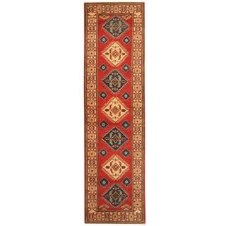 Handmade Herat Oriental Afghan Hand-knotted Tribal Kazak Wool Runner (2'3 x 9'10)