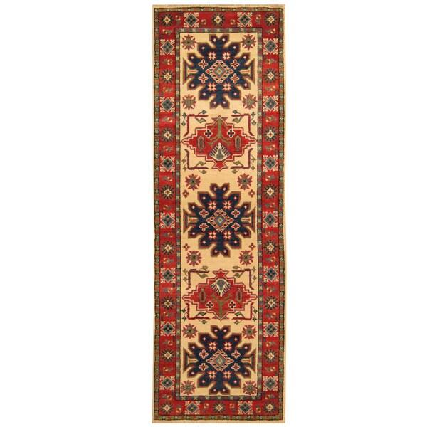 Handmade Herat Oriental Afghan Hand-knotted Tribal Kazak Wool Runner (2'2 x 6'9)