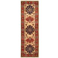 Handmade Herat Oriental Afghan Hand-knotted Tribal Kazak Wool Runner - 2'2 x 6'9
