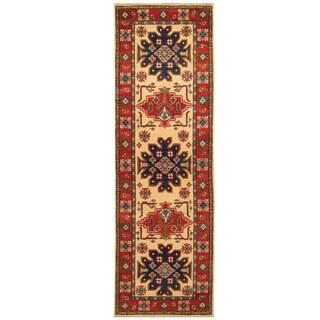 Handmade Herat Oriental Afghan Hand-knotted Tribal Kazak Wool Runner (2'2 x 6'9) - 2'2 x 6'9 (Afghanistan)