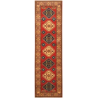 Handmade Herat Oriental Afghan Hand-knotted Tribal Kazak Wool Runner (2'8 x 9'8)