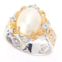 Michael Valitutti Palladium Silver White Mabe Pearl & White Topaz Mini Cocktail Ring - June Birthstone