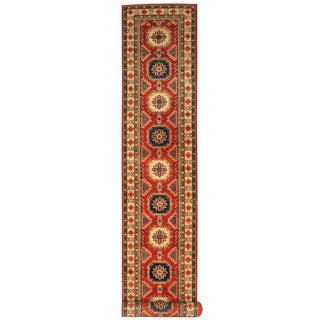 Handmade Herat Oriental Afghan Hand-knotted Tribal Kazak Wool Runner (2'8 x 19'9)
