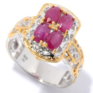Michael Valitutti Palladium Silver Oval Ruby Mini Cocktail Ring - July Birthstone
