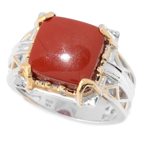 Michael Valitutti Palladium Silver Red Jasper Men's Band Ring