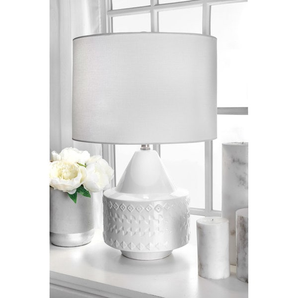 Watch Hill 23'' Serenity Ceramic Linen Shade Floral Vase Table Lamp