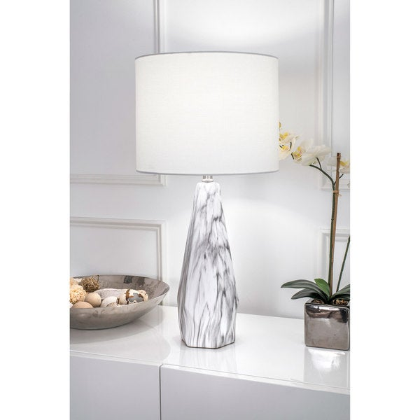 Watch Hill 25'' Winter Ceramic Linen Shade Table Lamp