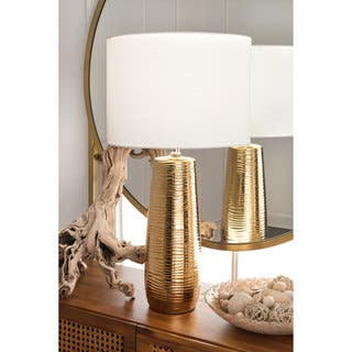 Watch Hill 26'' Kylie Ceramic Linen Shade Golden Table Lamp|https://ak1.ostkcdn.com/images/products/18036575/P24203142.jpg?impolicy=medium