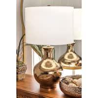 Watch Hill 23'' Hazel Ceramic Linen Shade Golden Vase Table Lamp