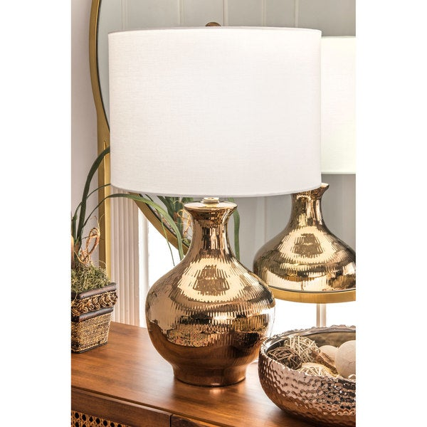 Watch Hill 23'' Hazel Ceramic Linen Shade Golden Vase Table Lamp - Gold. Opens flyout.