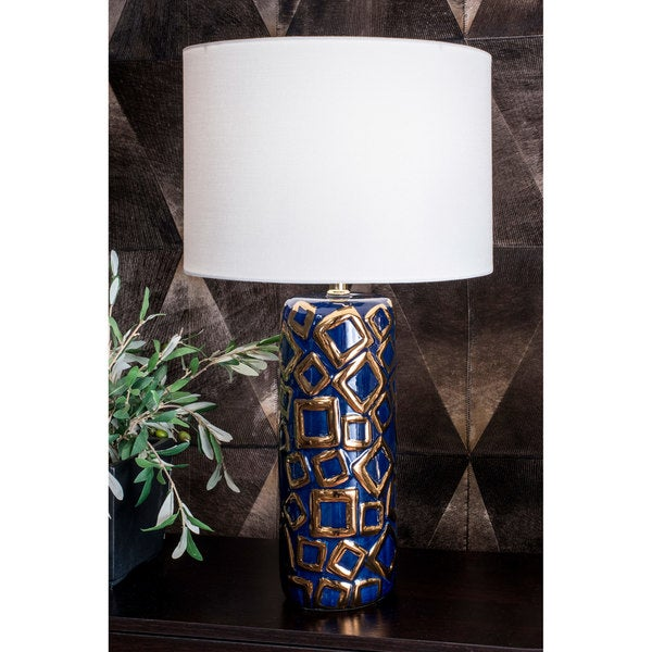 Watch Hill 25'' Caroline Ceramic Linen Shade Blue and Gold Table Lamp