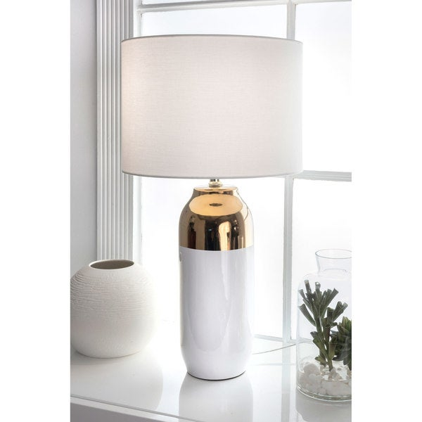 Watch Hill 25'' Eleanor Ceramic Linen Shade White and Gold Table Lamp