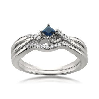 Montebello Jewelry 10k White Gold 1/5ct TGW Blue Sapphire and White Diamond Bridal Set