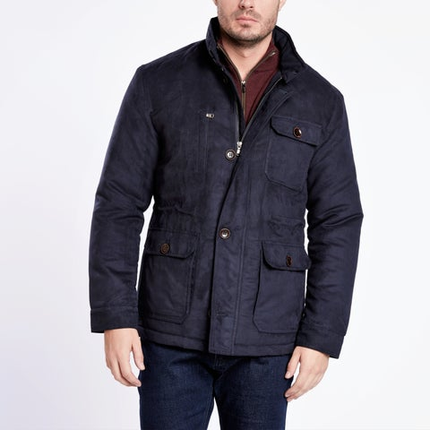 Medium Weight Navy Blue Suede Quilted Jacket