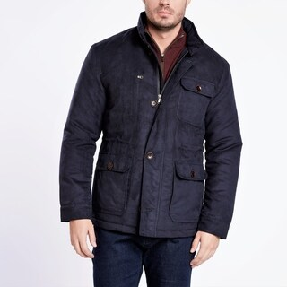 Medium Weight Navy Blue Suede Quilted Jacket (4 options available)