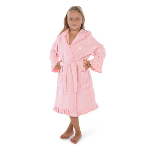 Sweet Kids Ruffled Pink Turkish Cotton Hooded Terry Bathrobe White Script Initial