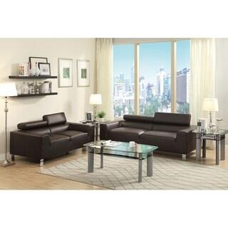 Bobkona Bonded Leather 2-Pcs Sofa Set w/ Adjustable Headrest (2 options available)