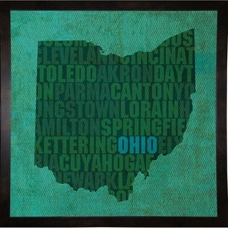"""Ohio State Words Framed Print 11.75""""x11.75"""" by David Bowman"""