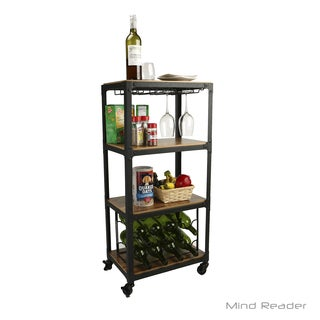 Mind Reader 4 Tier Wood and Metal Cart with Wine Rack, Black