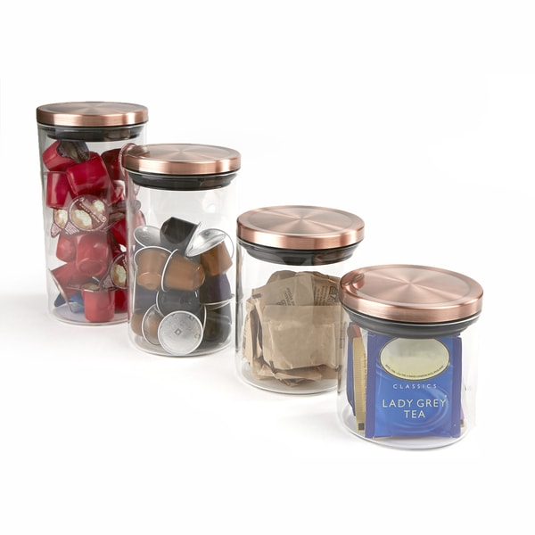 Mind Reader 4 Piece Glass Canister Set, Clear with Gold Tops
