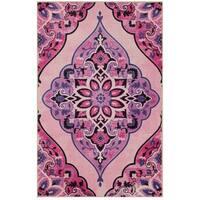 Gracewood Hollow Poliziano Purple and Pink Diamond Pattern Area Rug - 5' x 8'