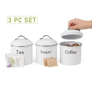 Mind Reader 3 Piece Coffee, Sugar,Tea Metal Canister Set, White