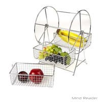 Mind Reader Revolving Triple Stainless Steel Fruit Basket