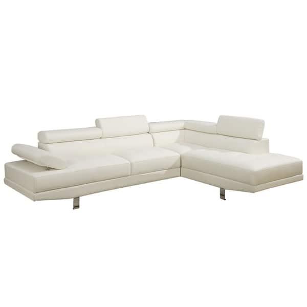 Shop Bobkona 2 Pcs Sectional Sofa W Flip Up Headsets Right Facing