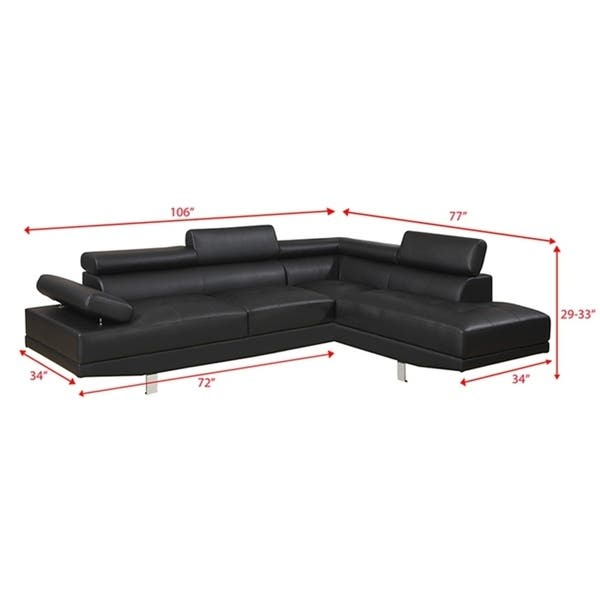 Shop Bobkona 2-Pcs Sectional Sofa w/ Flip Up Headsets: Right ...