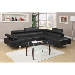 Bobkona 2 Pcs Sectional Sofa W/ Flip Up Headsets: Right Facing Chaise